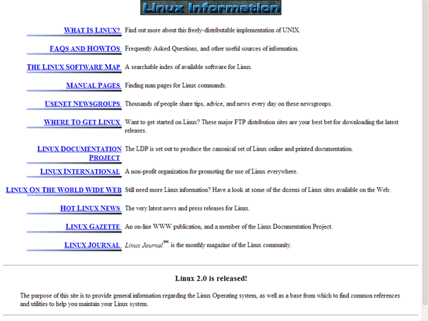 Linux.org website circa 1996