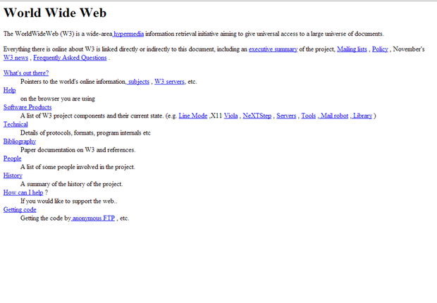 The first Web page, hosted at CERN
