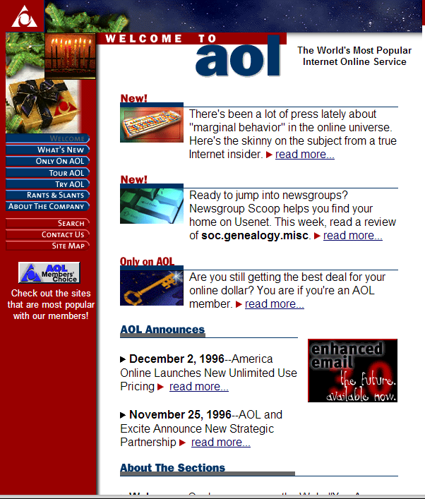 AOL.com website circa 1996