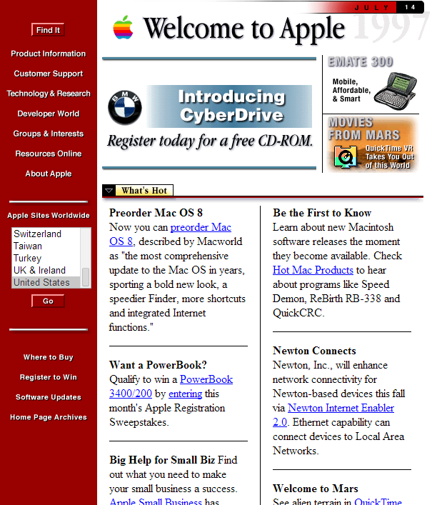 Apple.com website circa 1997