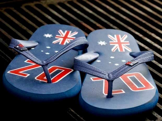 Picture of a pair of flip-flops with the Australian flag on them