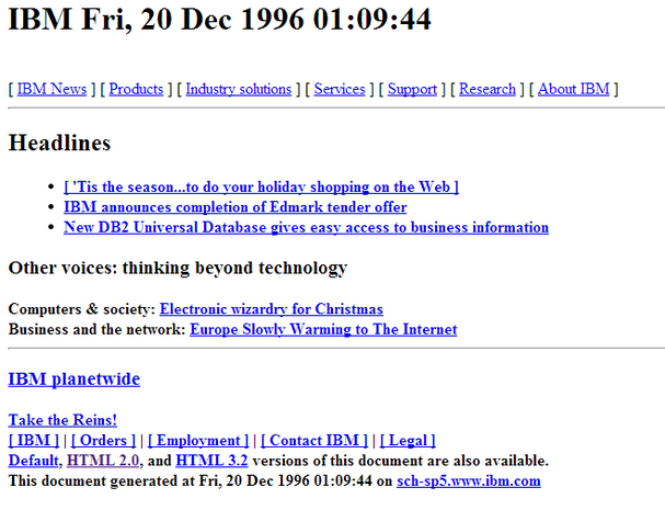 IBM.com circa 1996 (plaintext version)