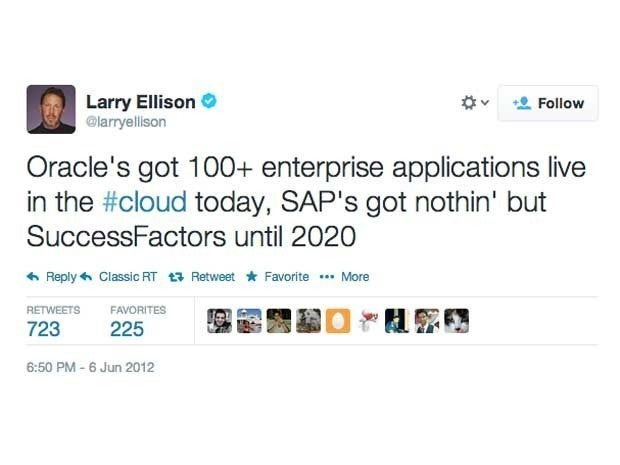 Screenshot of the first (and only) tweet from Larry Ellison on June 6, 2012 which said \Oracle's got 100+ enterprise applications live in the #cloud today, SAP's got nothin' but SuccessFactors until 2020\