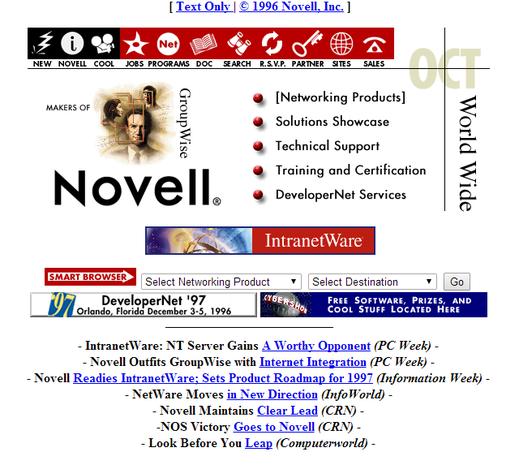 Novell.com circa 1996