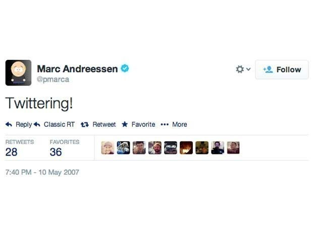 Screenshot of Marc Andreessen's first tweet from May 10, 2007 which said \Twittering!\