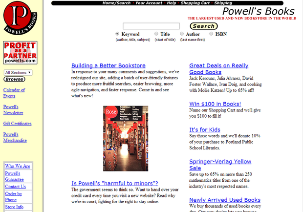 Powells.com website circa 1998