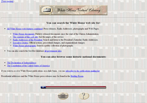 Whitehouse.gov website circa 1995