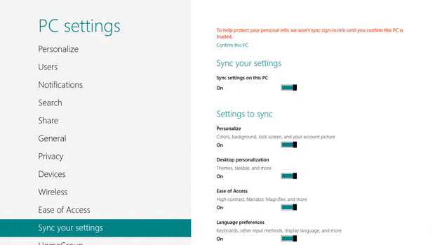 Windows 8 Settings Sync