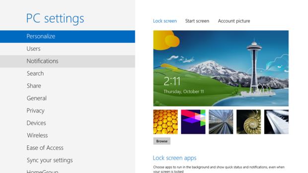 Windows 8 PC settings screen