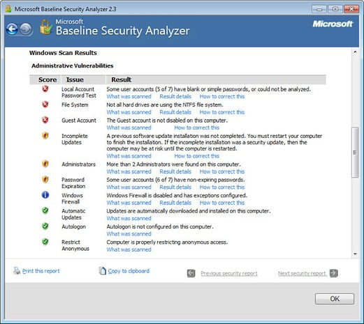 Microsoft Baseline Security Analyzer (MBSA)