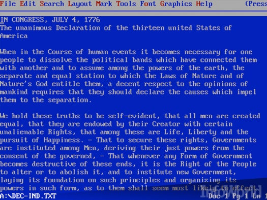Word processors: WordPerfect for DOS