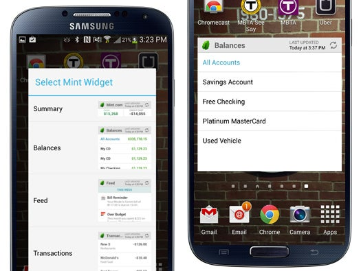 Mint.com Personal Finance Widget for Android