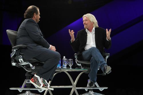 Salesforce.com CEO Marc Benioff speaks to Virgin chairman Richard Branson