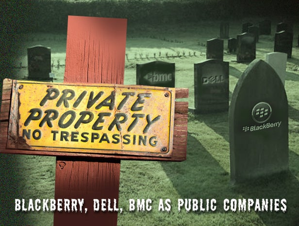 BlackBerry, Dell, BMC as public companies