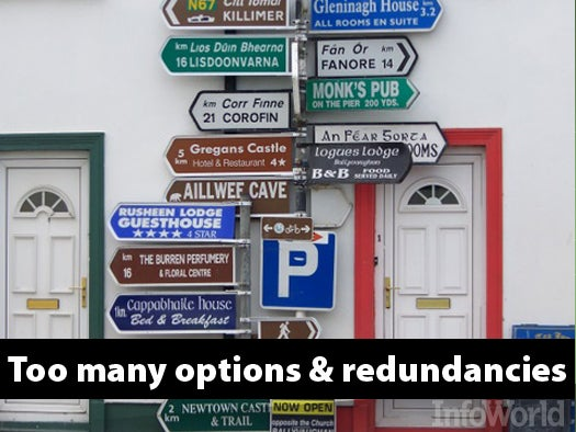 Too many options, too many redundancies