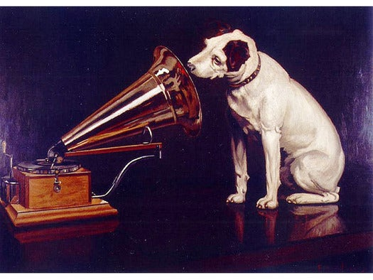Dog listening to phonograph