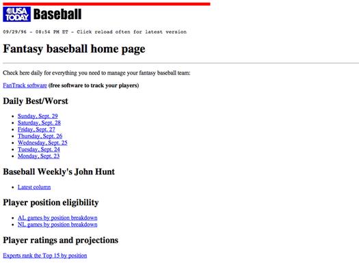 USA Today fantasy baseball