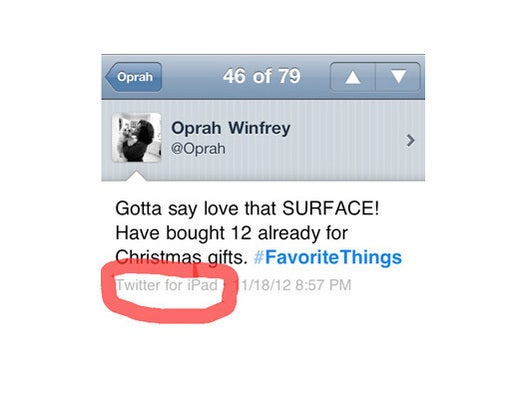 Oprah loves Surface! (From her iPad)