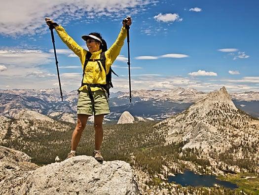 Person summits mountain