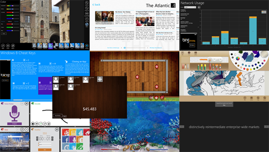 collage of Win 8 apps