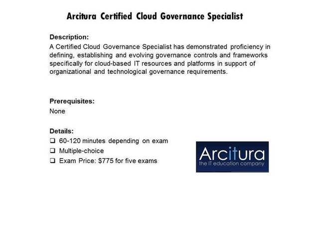 Arcitura Certified Cloud Governance Specialist certification
