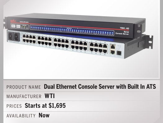 Dual Ethernet Console Server with Built In ATS