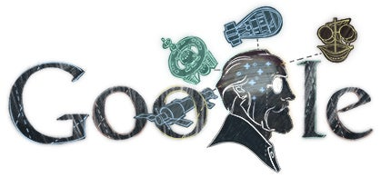 Google Doodle for Konstantin Tsiolkovsky's 155th birthday
