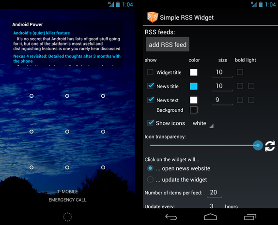 Simple RSS Widget screenshots