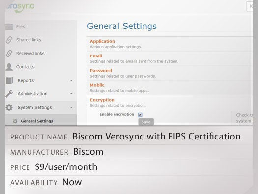 Biscom Verosync with FIPS Certification