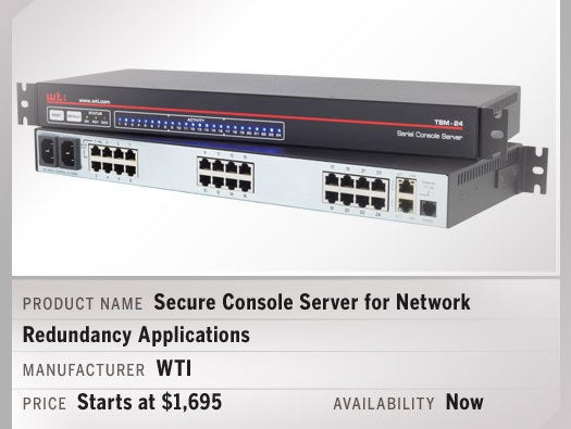 Secure Console Server for Network Redundancy Applications