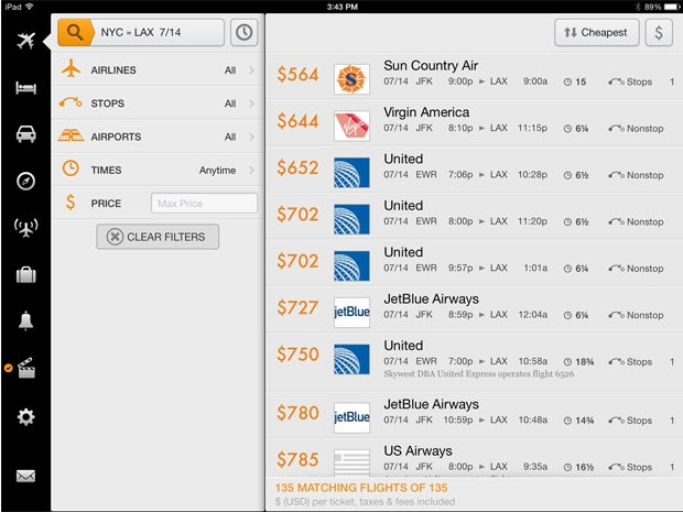 Kayak for Flight, Hotel and Rental Car Searches