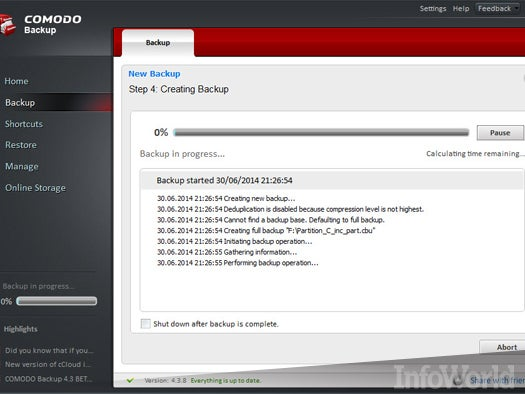 Top free desktop file management tool: Comodo Backup