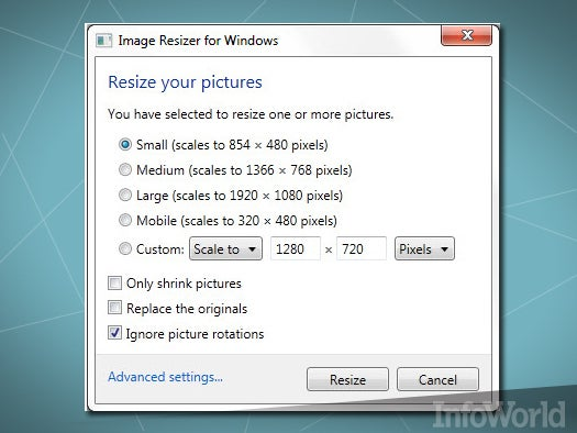 Top free desktop media tool: Image Resizer