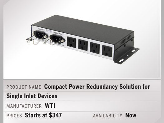Compact Power Redundancy Solution for Single Inlet Devices