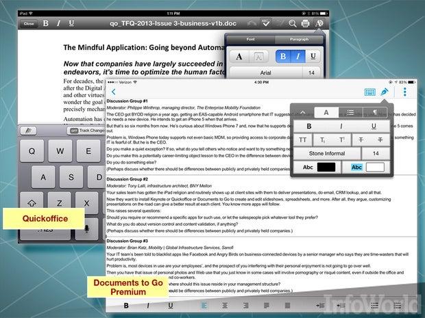 DataViz Documents to Go, Google Quickoffice, Picsel Smart Office 2 word processors