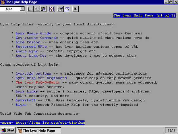 Lynx browser in mid-1990s