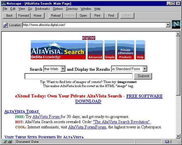 Netscape Navigator browser 1996