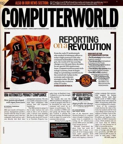 Computerworld Sept. 30, 2002 cover