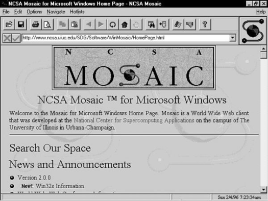 Mosaic browser in 1996