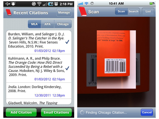 EasyBib apps for Android and iOS