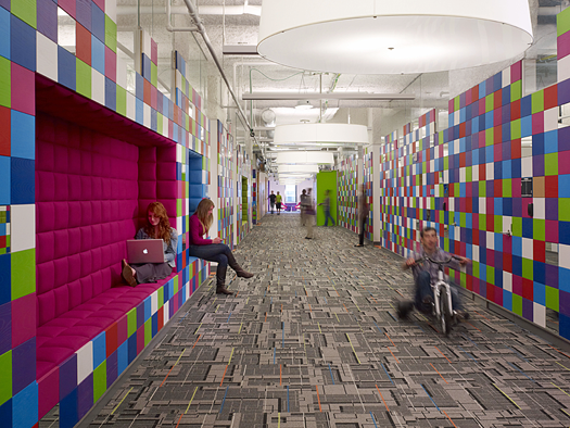 colorful hallway at Quicken Loans