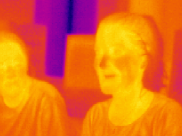 People shown in infrared