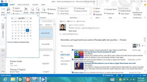 Outlook's Navigation bar with peek