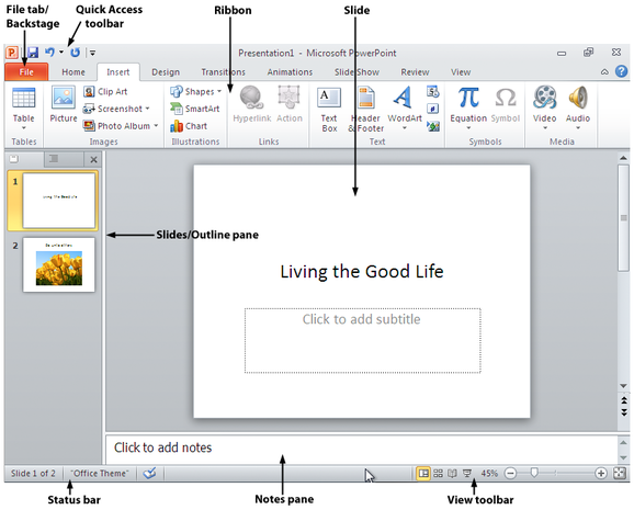 PowerPoint 2010 screen with labels