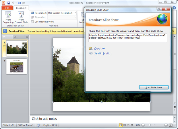 Broadcast Slide Show dialog box