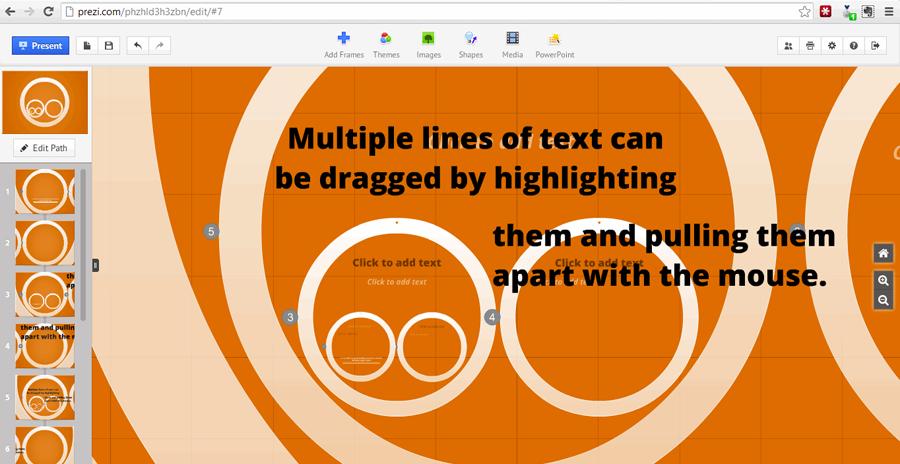 dragging text apart