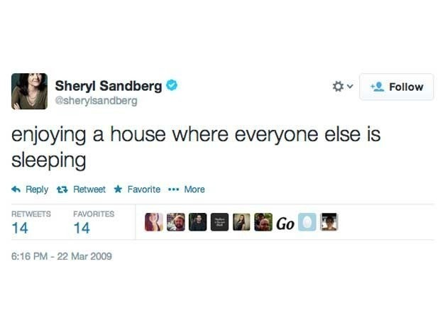 Screenshot of Sheryl Sandberg's first tweet from March 22, 2009 which said enjoying a house where everyone else is sleeping