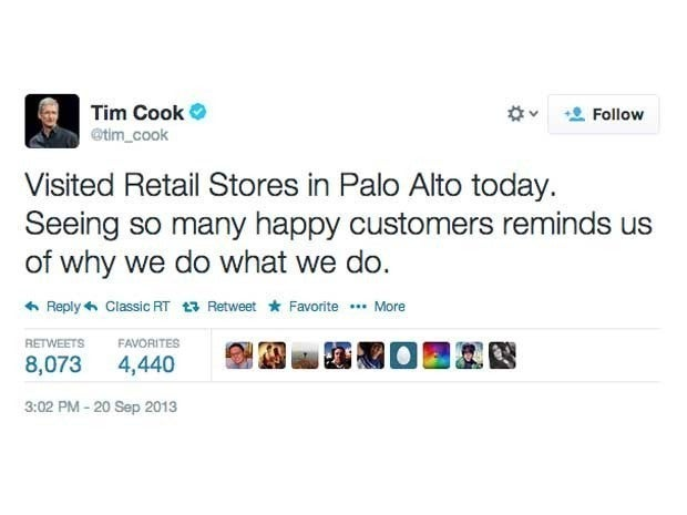 Screenshot of Tim Cook's first tweet, from September 20, 2013, which said Visited Retail Stores in Palo Alto today. Seeing so many happy customers reminds us of why we do what we do.