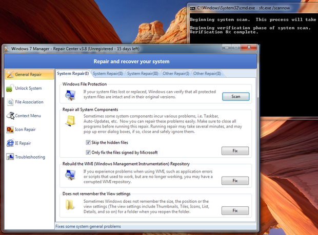 Windows 7 Manager screenshot