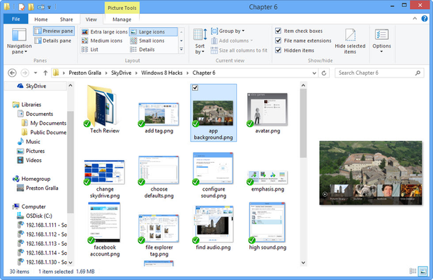 Navigation and Preview panes in File Explorer